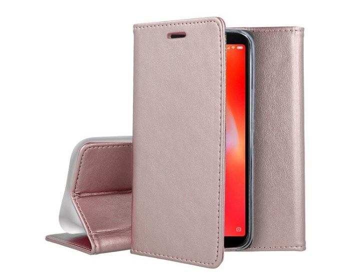 Forcell Magnet Wallet Case Θήκη Πορτοφόλι με δυνατότητα Stand Rose Gold (Huawei Y5P / Honor 9s)