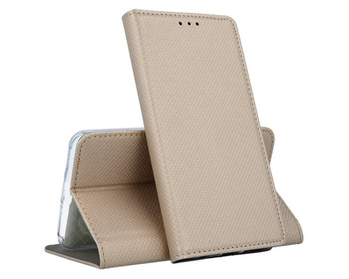 Forcell Smart Book Case με Δυνατότητα Stand Θήκη Πορτοφόλι Gold (Huawei Y6 2019)