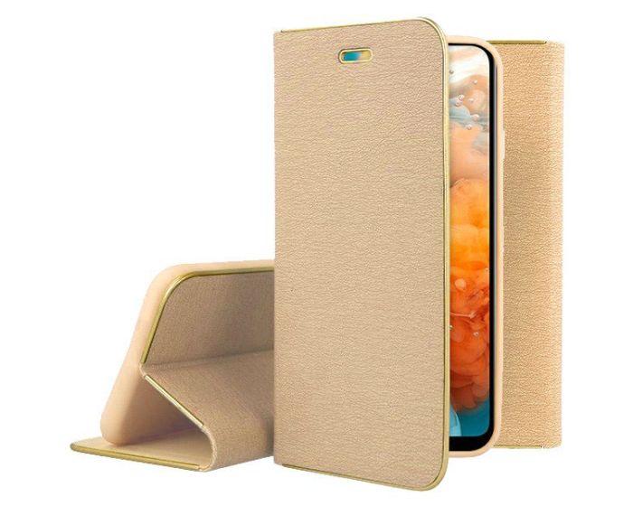 Vennus Book Case με Δυνατότητα Stand - Θήκη Πορτοφόλι Χρυσό (Huawei Y6 2019)