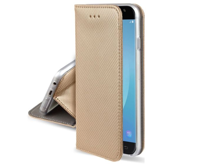 Forcell Smart Book Case με Δυνατότητα Stand Θήκη Πορτοφόλι Gold (Huawei Y6 Prime 2018)