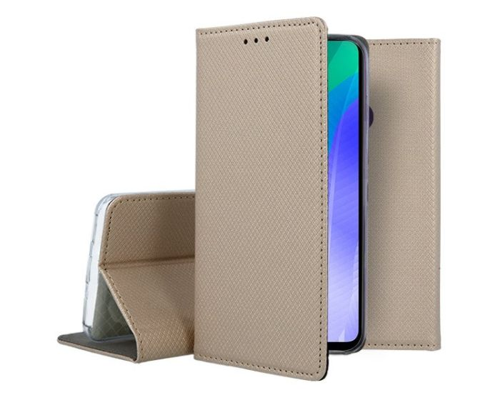 Forcell Smart Book Case με Δυνατότητα Stand Θήκη Πορτοφόλι Gold (Huawei Y6P)