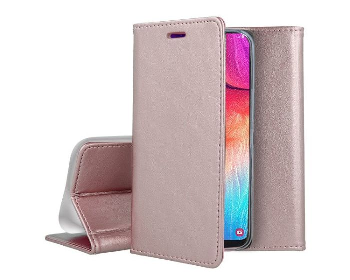 Forcell Magnet Wallet Case Θήκη Πορτοφόλι με δυνατότητα Stand Rose Gold (Huawei Y6P)