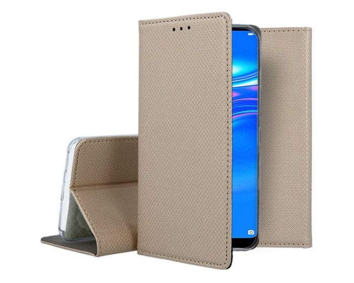 Forcell Smart Book Case με Δυνατότητα Stand Θήκη Πορτοφόλι Gold (Huawei Y7 2019 / Y7 Prime 2019)