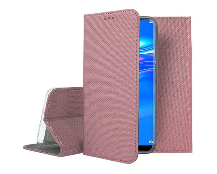 Forcell Smart Book Case με Δυνατότητα Stand Θήκη Πορτοφόλι Rose Gold (Huawei Y7 2019 / Y7 Prime 2019)