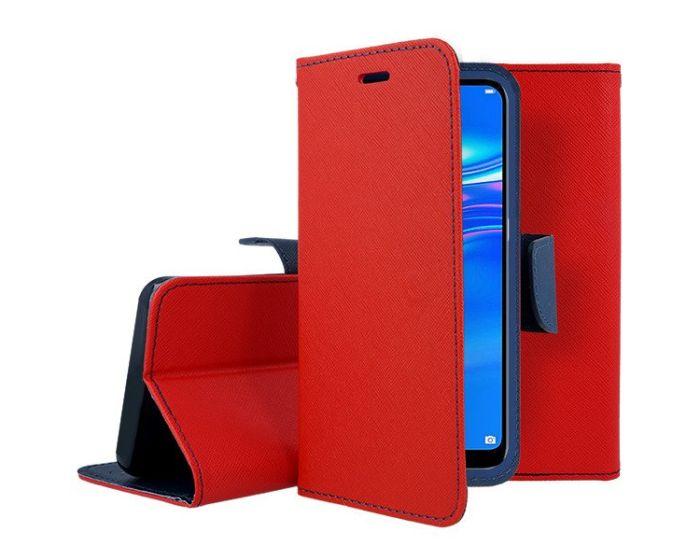 Tel1 Fancy Diary Case Θήκη Πορτοφόλι με δυνατότητα Stand Red / Navy (Huawei Y7 2019 / Y7 Prime 2019)