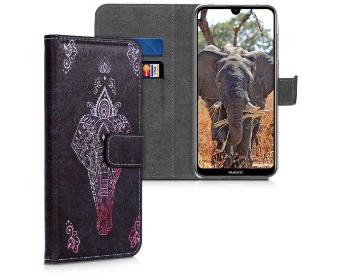 KWmobile Θήκη Πορτοφόλι Wallet Case (47664.06) Elephant Sketch (Huawei Y7 2019 / Y7 Prime 2019)