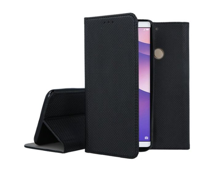 Forcell Smart Book Case με Δυνατότητα Stand Θήκη Πορτοφόλι Black (Huawei Y7 Prime 2018)