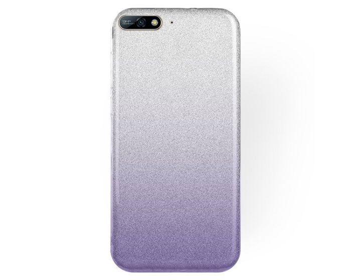 Forcell Glitter Shine Glitter Cover Hard Case Silver / Violet (Huawei Y7 Pro 2018)