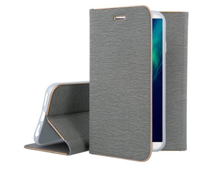 Vennus Book Case με Δυνατότητα Stand - Θήκη Πορτοφόλι Γκρι (Huawei Y9 2018)