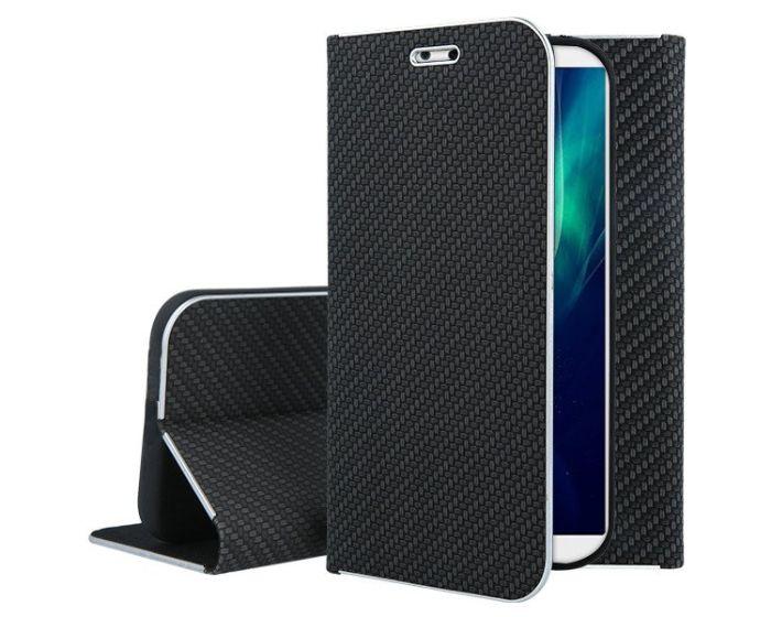 Vennus Book Carbon Case με Δυνατότητα Stand - Θήκη Πορτοφόλι Μαύρη (Huawei Y9 2018)