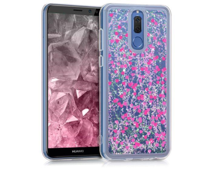 KWmobile Liquid Glitter Snowglobe & Hearts Case (43923.01) Θήκη με Χρυσόσκονη Dark Pink (Huawei Mate 10 Lite)