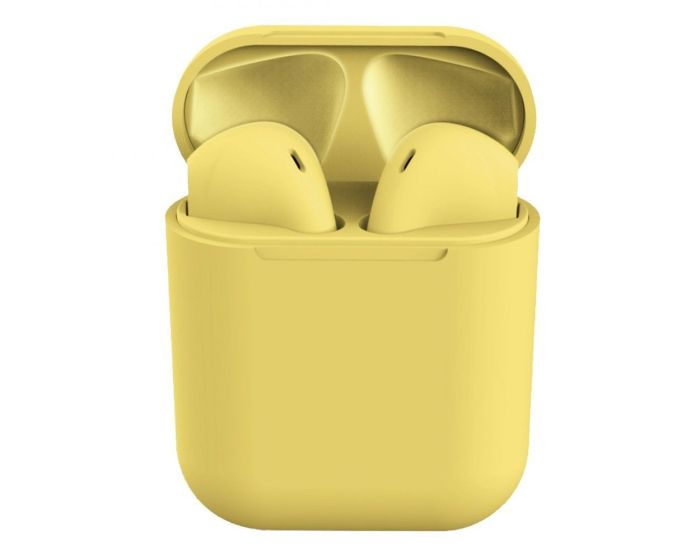 i12 TWS Wireless Bluetooth Stereo Earbuds with Charging Box - Yellow