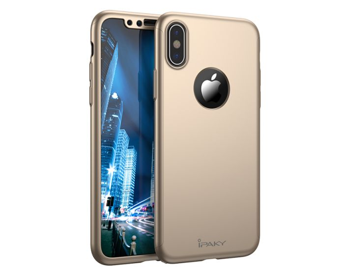 iPAKY 360 Full Cover Case & Screen Protector - Gold (iPhone X)