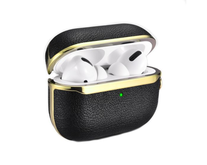 iCarer Electroplating PU Leather AirPods Pro Case Θήκη για Apple AirPods Pro - Black / Gold