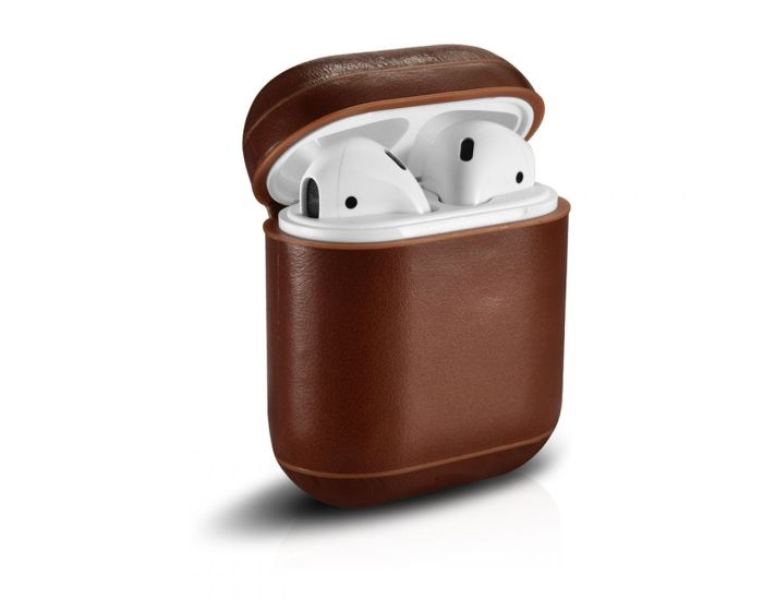 iCarer Leather AirPods Case Δερμάτινη Θήκη για Apple Airpods - Brown