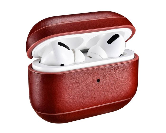 iCarer Leather AirPods Pro Case Δερμάτινη Θήκη για Apple Airpods Pro - Red