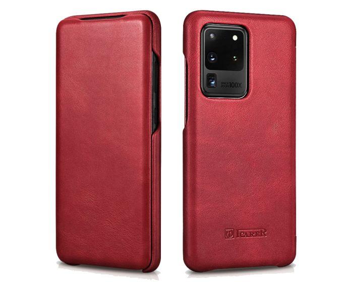 iCarer Vintage Series Curved Edge Δερμάτινη Θήκη Red (Samsung Galaxy S20 Ultra)