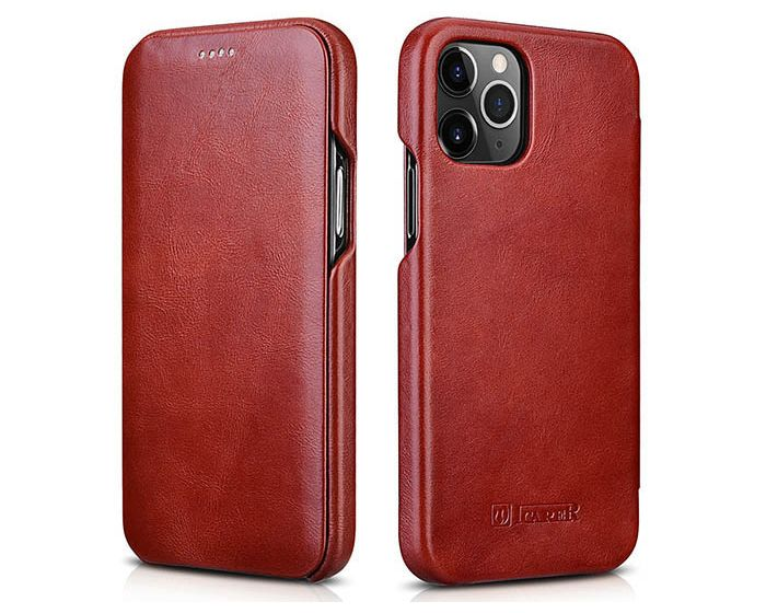 iCarer Vintage Series Curved Edge Δερμάτινη Θήκη Red (iPhone 12 Pro Max)