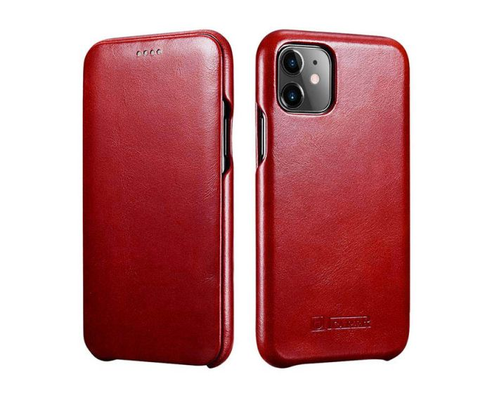 iCarer Vintage Series Curved Edge Δερμάτινη Θήκη Red (iPhone 11 Pro Max)