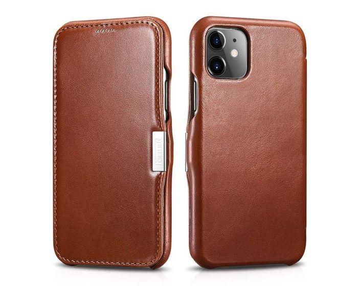 iCarer Vintage Series Side-Open Δερμάτινη Θήκη Brown (iPhone 11)