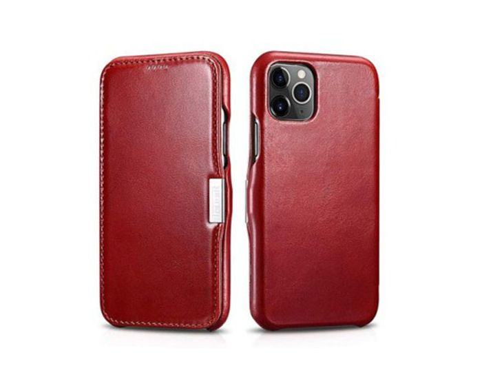 iCarer Vintage Series Side-Open Δερμάτινη Θήκη Red (iPhone 11 Pro Max)