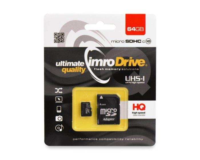 Imro Memory Card microSDHC 64GB - Class 10 with Adaptor