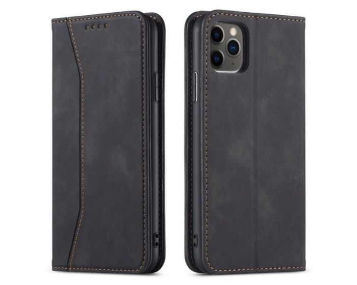 Bodycell PU Leather Book Case Θήκη Πορτοφόλι με Stand - Black (iPhone 12 / 12 Pro)