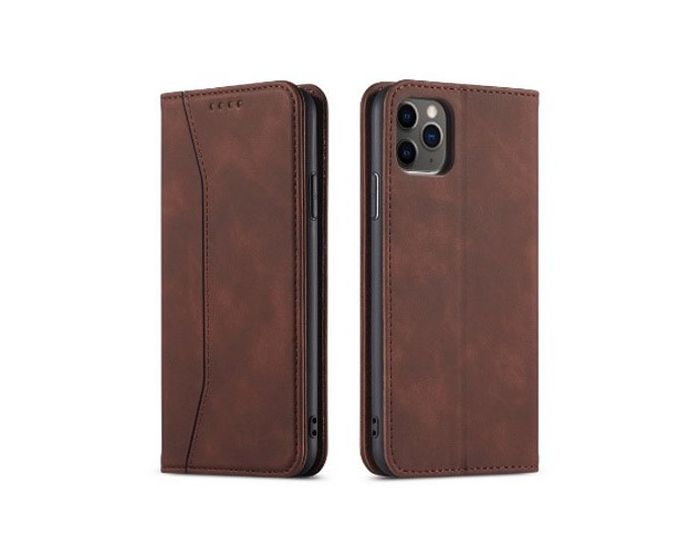 Bodycell PU Leather Book Case Θήκη Πορτοφόλι με Stand - Dark Brown (iPhone 12 / 12 Pro)