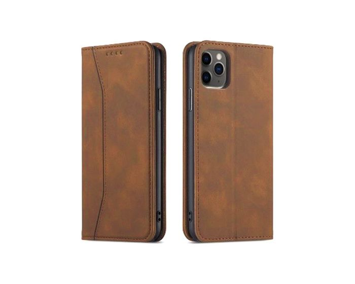 Bodycell PU Leather Book Case Θήκη Πορτοφόλι με Stand - Brown (iPhone 12 Pro Max)