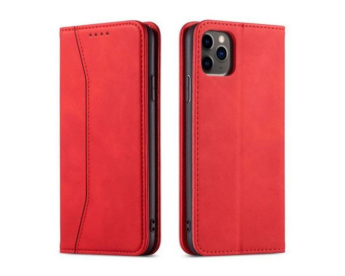 Bodycell PU Leather Book Case Θήκη Πορτοφόλι με Stand - Red (iPhone 12 Pro Max)