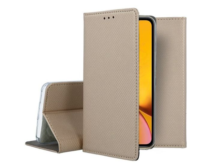 Forcell Smart Book Case με Δυνατότητα Stand Θήκη Πορτοφόλι Gold (iPhone XR)