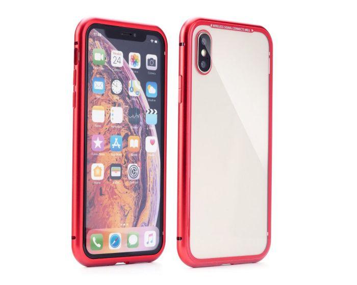 Magneto Bumper Case - Μαγνητική Θήκη Clear / Red (iPhone Xs Max)