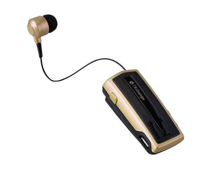 iXchange UA-28SE Mini Retractable Wireless Bluetooth Headset with Vibration - Gold