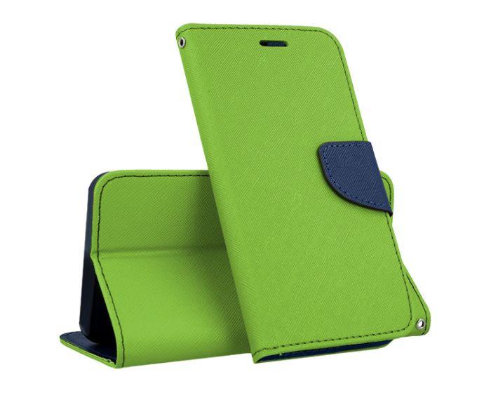 Tel1 Fancy Diary Case Θήκη Πορτοφόλι με δυνατότητα Stand Lime / Navy (Samsung Galaxy J7 2017)