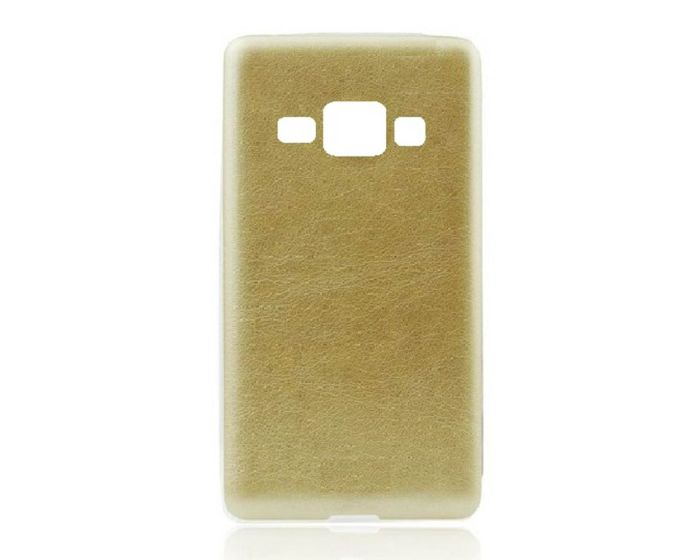 Forcell Leather Pattern Jelly Case Gold (Samsung Galaxy J1)