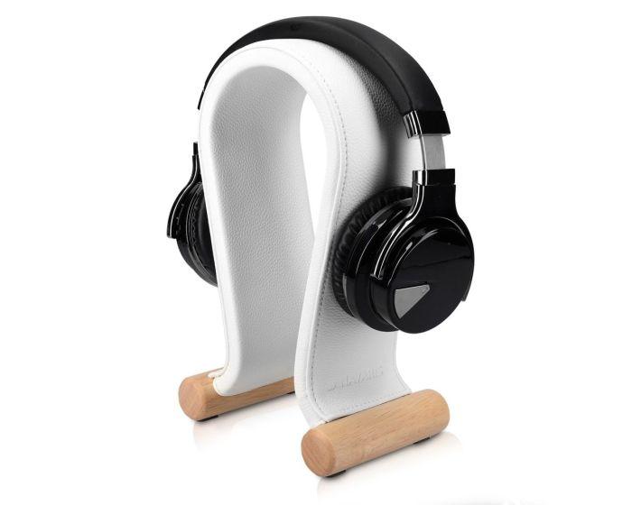 Navaris Omega Headphone Stand Ξύλινη Βάση Στήριξης Ακουστικών με Κάλυμμα από Συνθετικό Δέρμα (48110.02) Λευκό