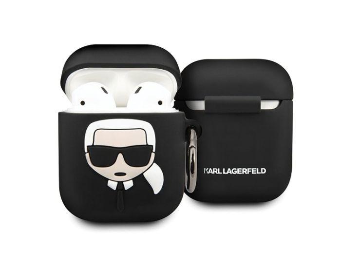 Karl Lagerfeld KLACCSILKHBK Silicone Airpods Case Θήκη Σιλικόνης για Airpods - Black