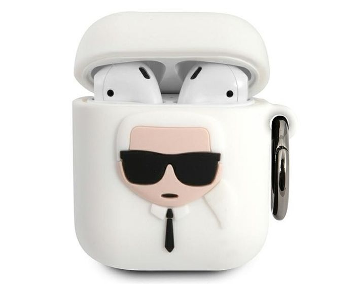 Karl Lagerfeld KLACCSILKHWH Silicone Airpods Case Θήκη Σιλικόνης για Airpods - White
