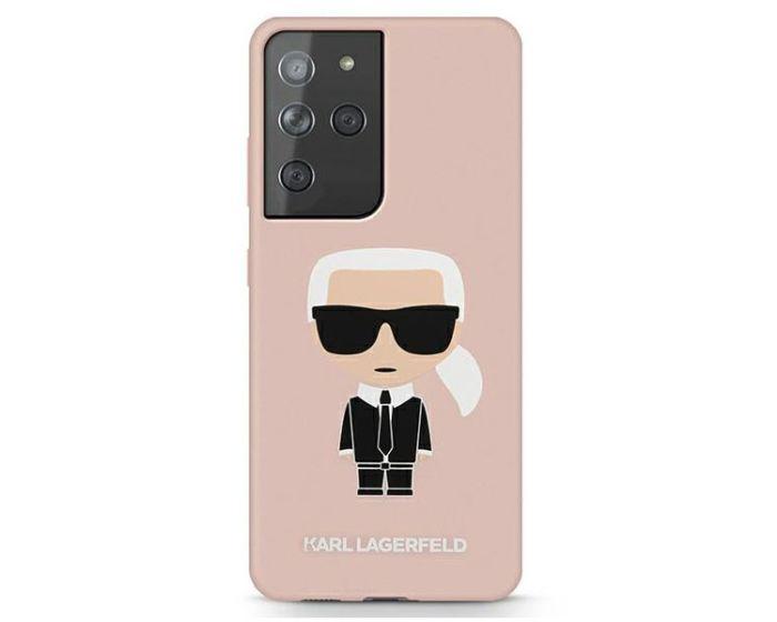 Karl Lagerfeld KLHCS21LSLFKPI Hardcase Silicone Iconic - Pink (Samsung Galaxy S21 Ultra 5G)