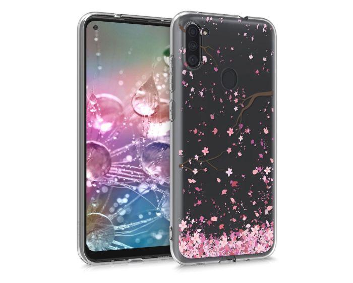 KWmobile Slim Fit Gel Case Cherry Blossoms (52175.02) Θήκη Σιλικόνης Διάφανη / Ροζ (Samsung Galaxy A11)