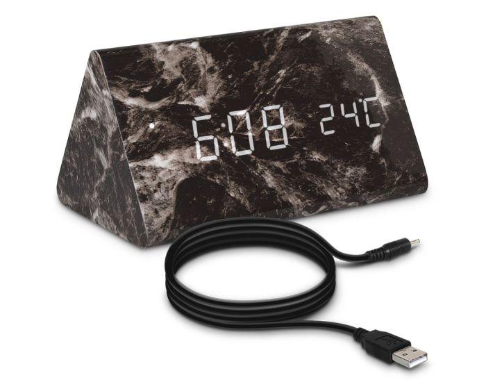 KWmobile Digital Alarm Clock (40799) Επιτραπέζιο Ρολόι Design Marble Black