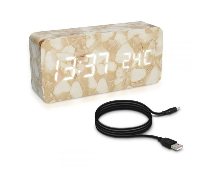 KWmobile Digital Alarm Clock (39179) Επιτραπέζιο Ρολόι Design Marble White