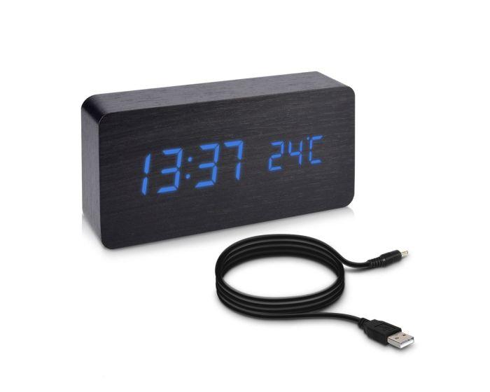 KWmobile Digital Wood Alarm Clock (38878) Ψηφιακό Επιτραπέζιο Ξύλινο Ρολόι Black / Blue LED