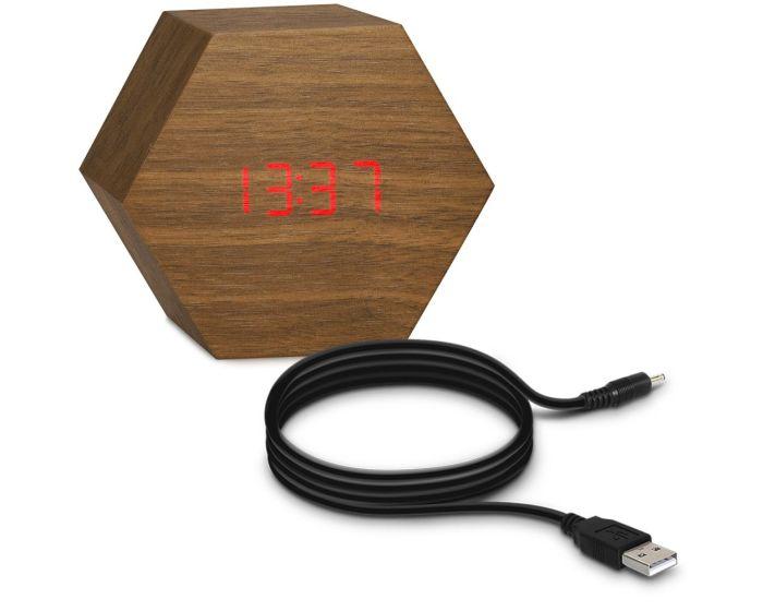 KWmobile Digital Wood Alarm Clock (40954) Ψηφιακό Επιτραπέζιο Ξύλινο Ρολόι Brown / Red LED
