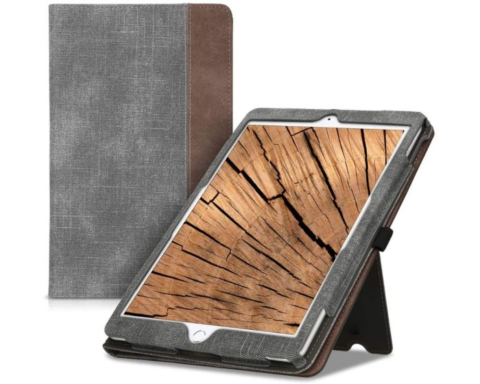 KWmobile Faux Leather Canvas Stand Case (52093.01) Grey / Brown (iPad 10.2 2019 / 2020 / iPad Air 3 2019)