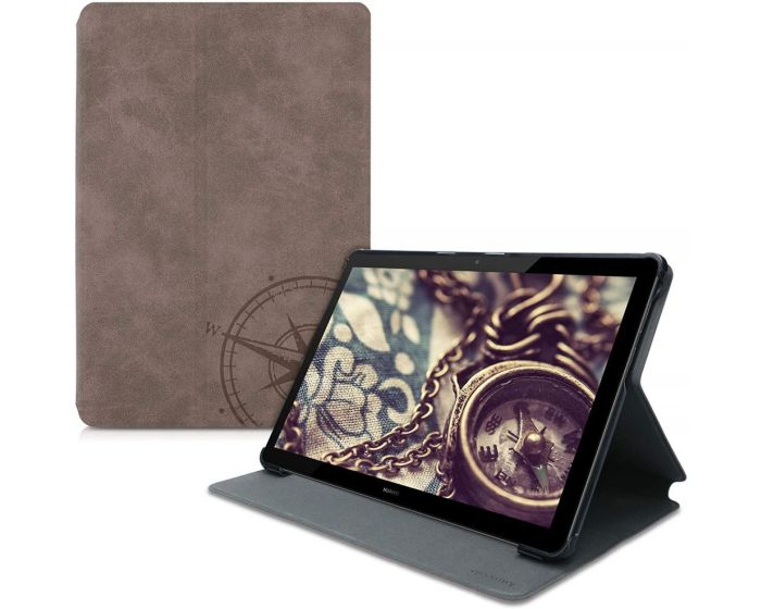 KWmobile Faux Leather Stand Case (52488.01) Navigational Compass Brown (Huawei MediaPad T5 10.1'')