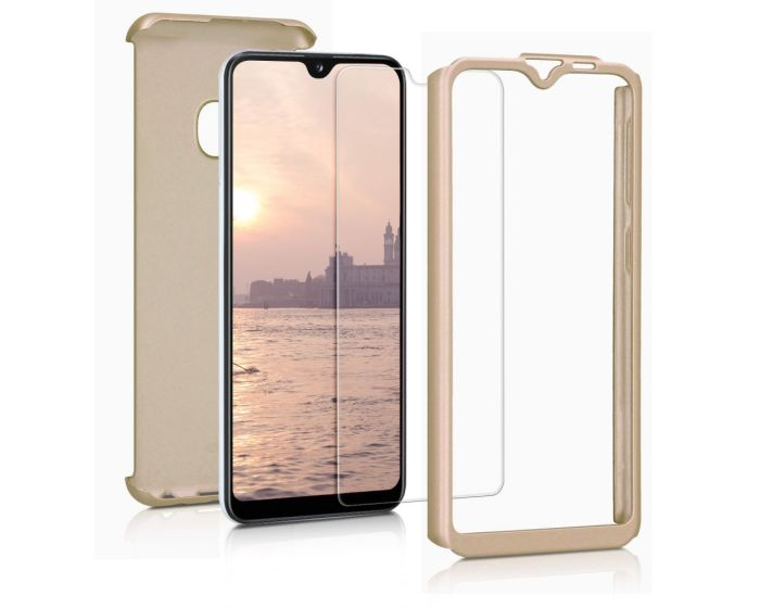 360 Full Cover Case & Tempered Glass - Gold (Samsung Galaxy A20e)