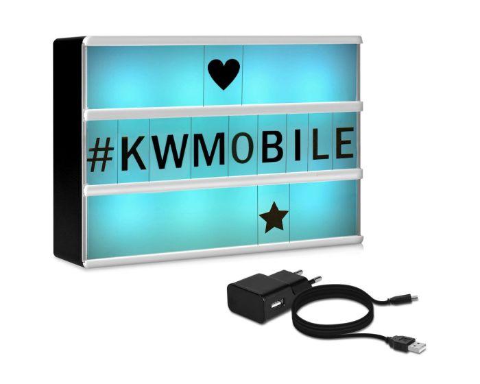 KWmobile Led Cinema Light Box Multicolor (44815.01.01) Φωτεινός Πίνακας Διαστάσεων A6 (126 Black Letters)