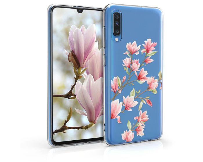 KWmobile Slim Fit Gel Case Magnolia (48433.01) Θήκη Σιλικόνης Διάφανη / Ροζ (Samsung Galaxy A70)