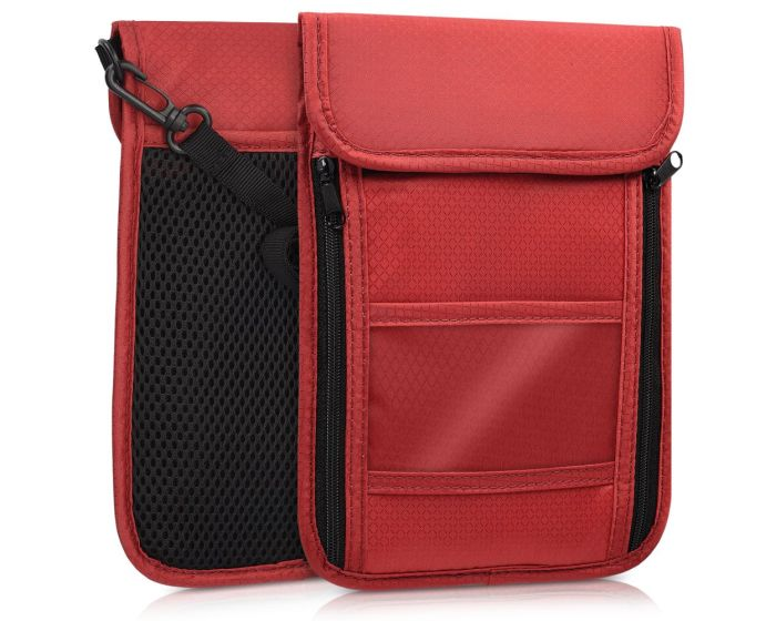 KWmobile Neck Pouch for Travelling RFID Anti Theft (41280.20) Red